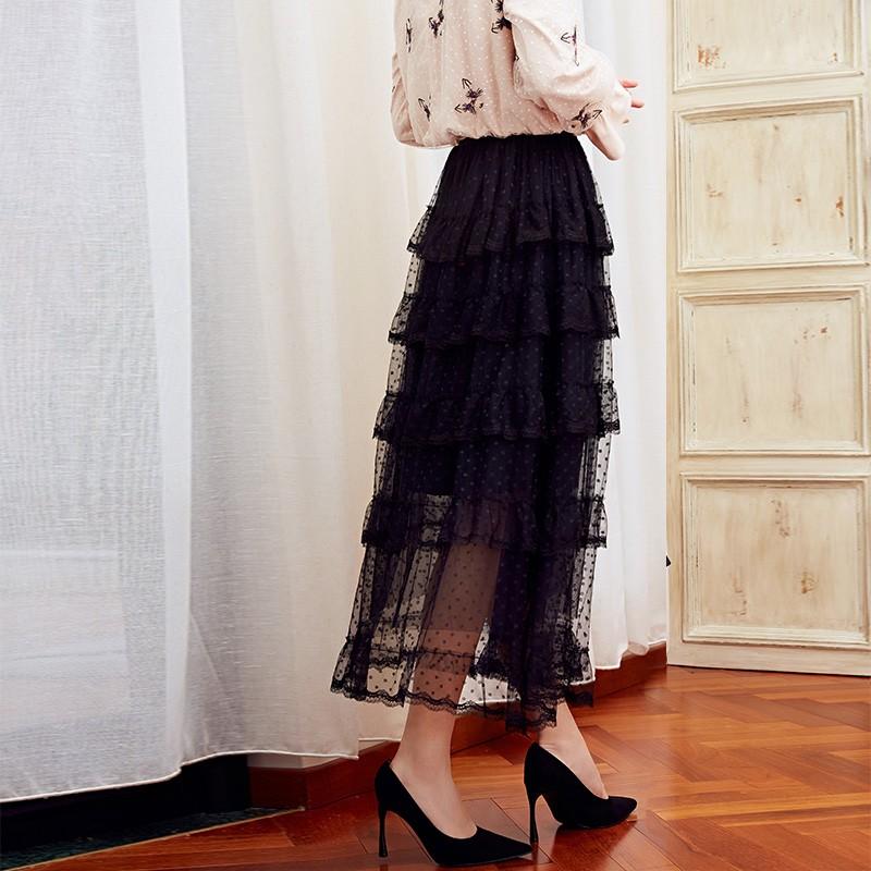 金苑女装2019冬装新款蛋糕裙蕾丝网纱拼接中长款高腰半身裙B951073