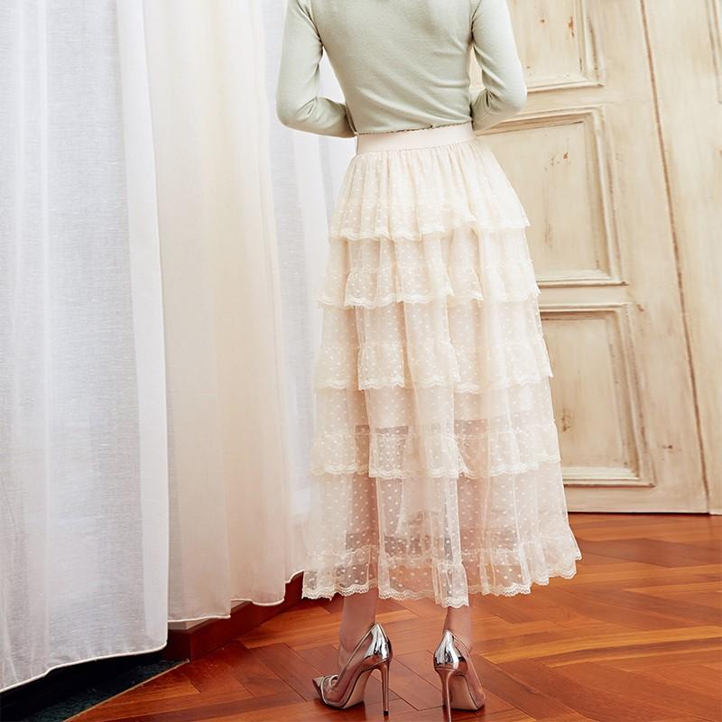 金苑女装2019冬装新款蛋糕裙蕾丝网纱拼接中长款高腰半身裙B9510710