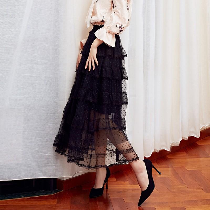 金苑女装2019冬装新款蛋糕裙蕾丝网纱拼接中长款高腰半身裙B951074