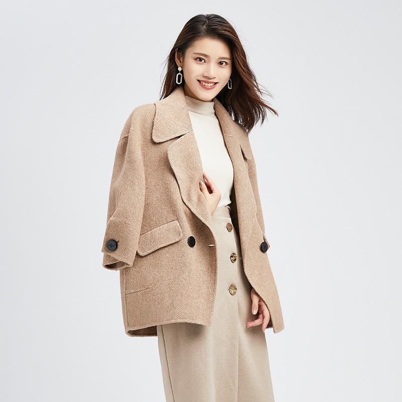 金苑正品羊毛呢大衣2019冬装新款中长款上衣职业韩版外套女E951012
