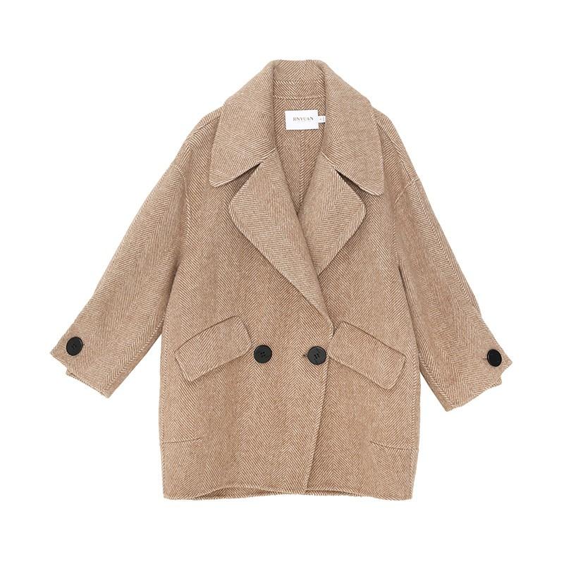 金苑正品羊毛呢大衣2019冬装新款中长款上衣职业韩版外套女E951016