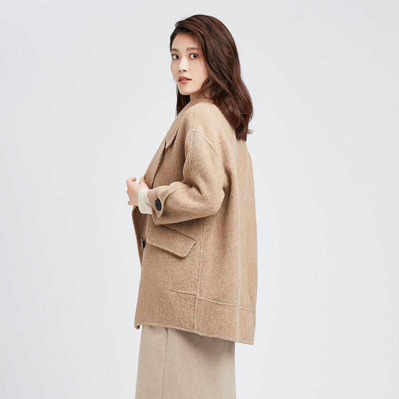 金苑正品羊毛呢大衣2019冬装新款中长款上衣职业韩版外套女E951014