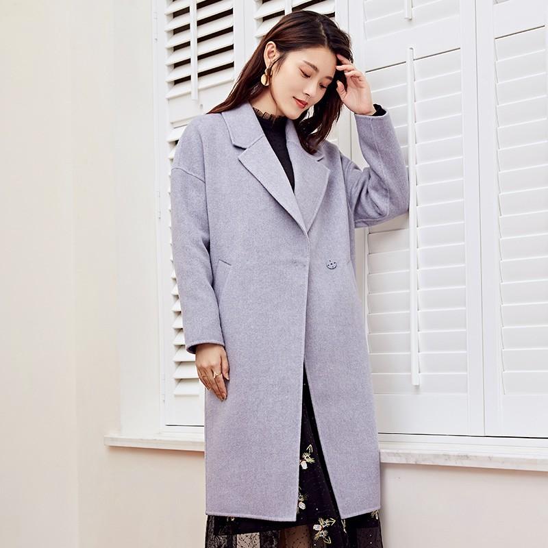 金苑2019冬装新款女装中长款羊毛大衣收腰纯色通勤毛呢外套E951025