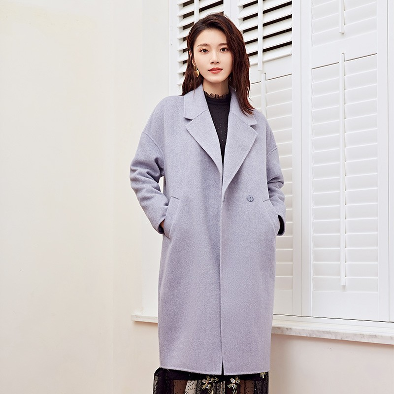 金苑2019冬装新款女装中长款羊毛大衣收腰纯色通勤毛呢外套E951024
