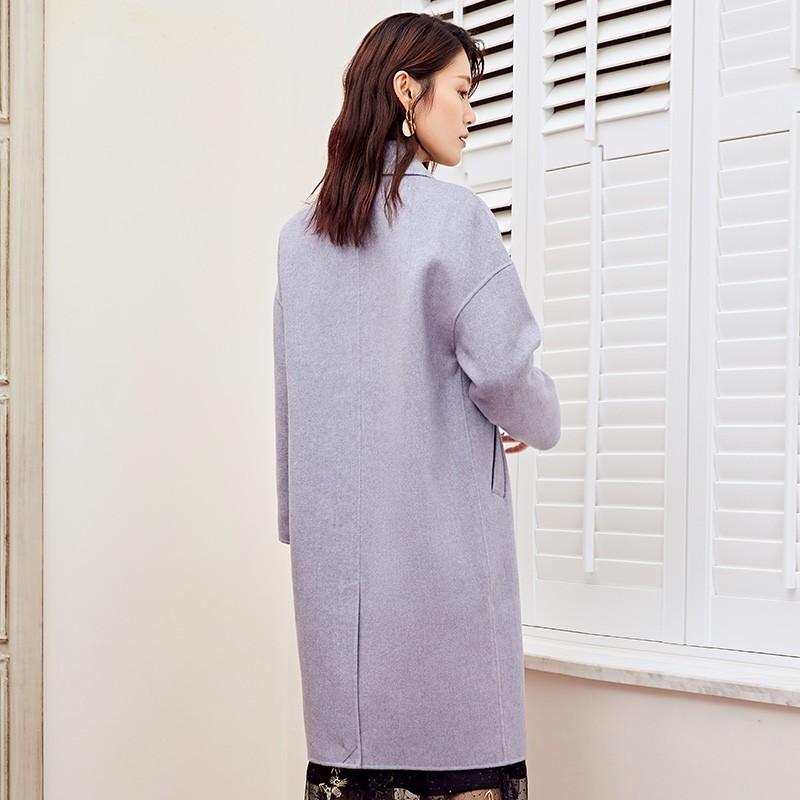 金苑2019冬装新款女装中长款羊毛大衣收腰纯色通勤毛呢外套E951026
