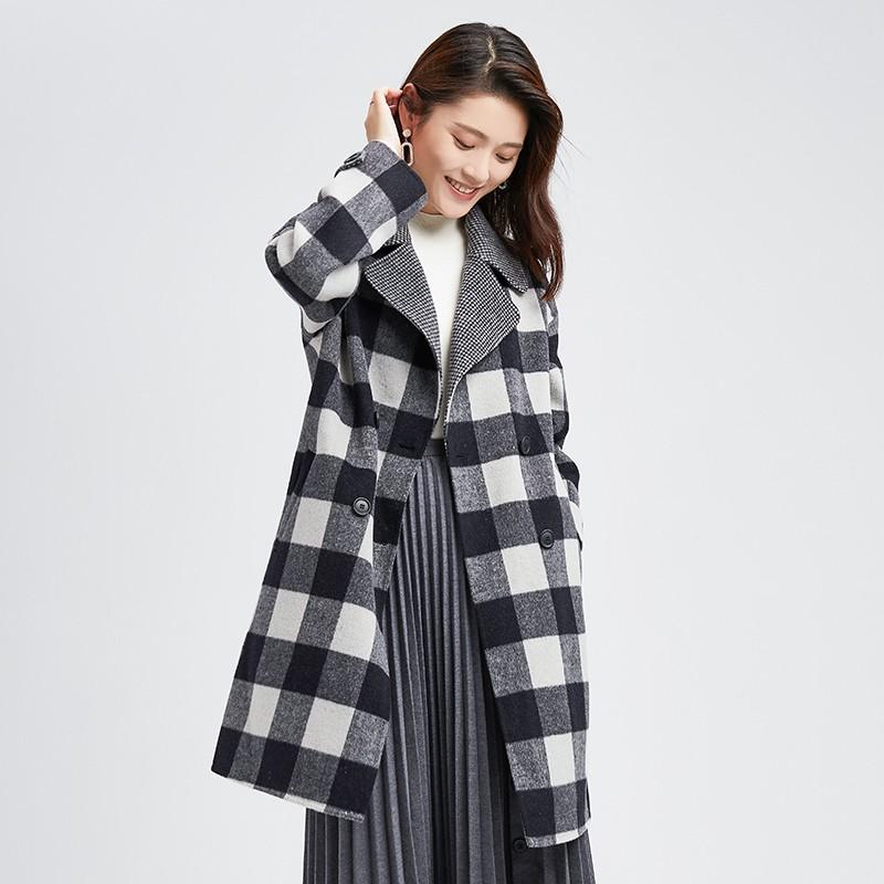 金苑冬装2019新款羊毛呢大衣纯色减龄女士中长款双面呢外套E951126