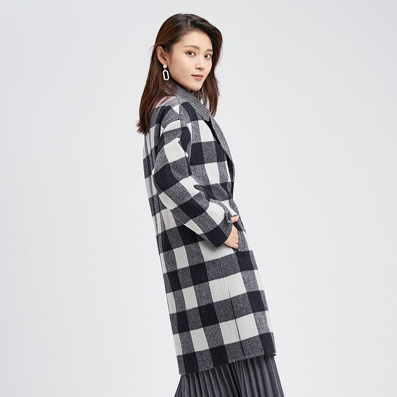 金苑冬装2019新款羊毛呢大衣纯色减龄女士中长款双面呢外套E951124