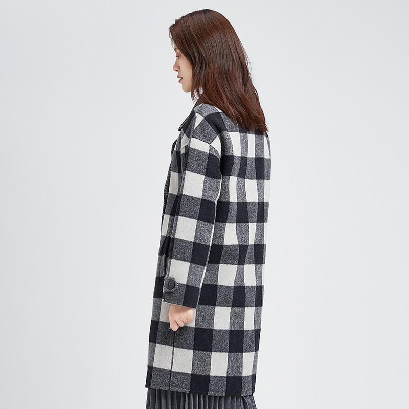 金苑冬装2019新款羊毛呢大衣纯色减龄女士中长款双面呢外套E951125