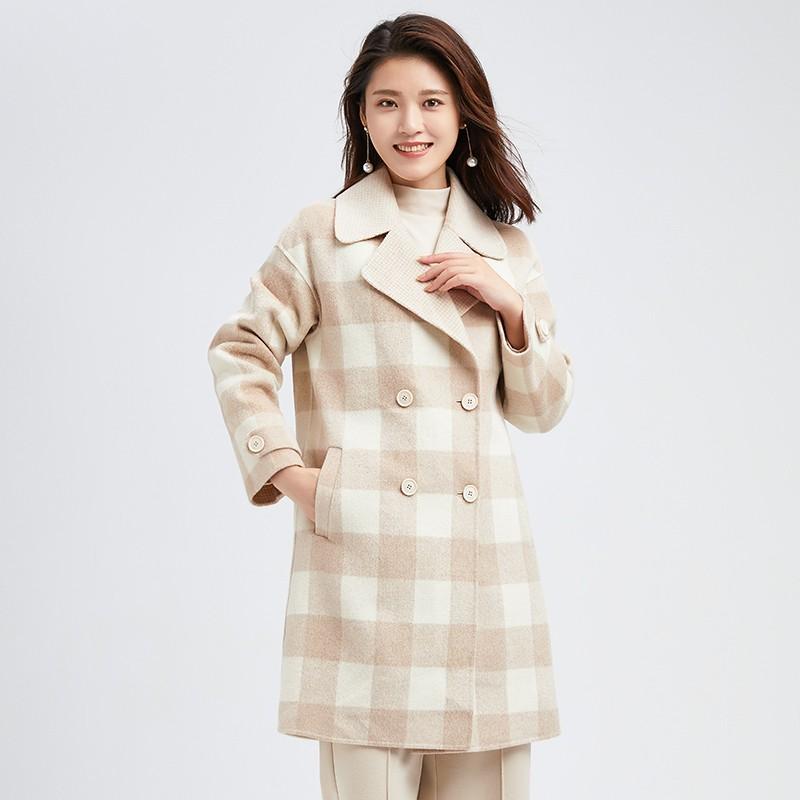 金苑冬装2019新款羊毛呢大衣纯色减龄女士中长款双面呢外套E951122