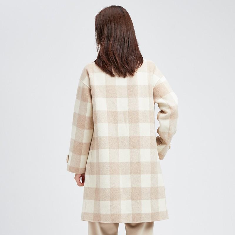 金苑冬装2019新款羊毛呢大衣纯色减龄女士中长款双面呢外套E9511210