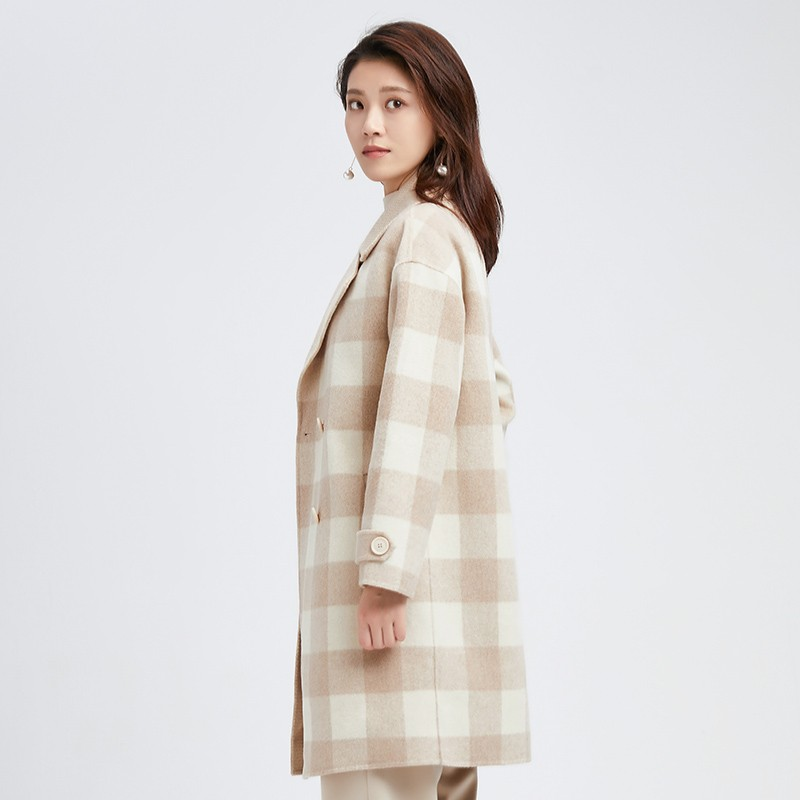 金苑冬装2019新款羊毛呢大衣纯色减龄女士中长款双面呢外套E951129