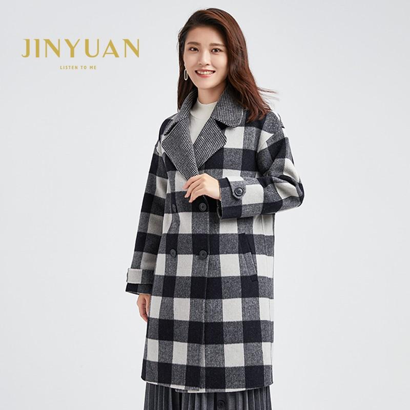 金苑冬装2019新款羊毛呢大衣纯色减龄女士中长款双面呢外套E951123