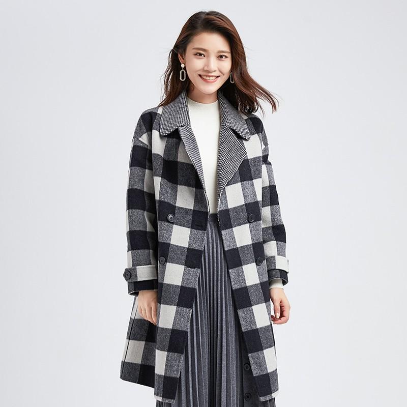 金苑冬装2019新款羊毛呢大衣纯色减龄女士中长款双面呢外套E951127