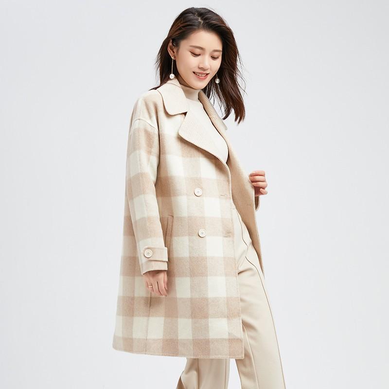 金苑冬装2019新款羊毛呢大衣纯色减龄女士中长款双面呢外套E9511211