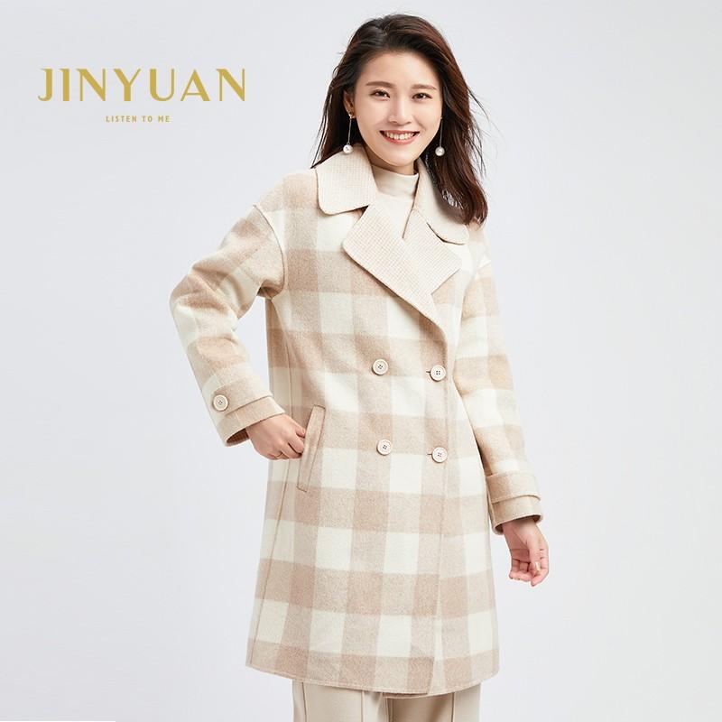 金苑冬装2019新款羊毛呢大衣纯色减龄女士中长款双面呢外套E951121