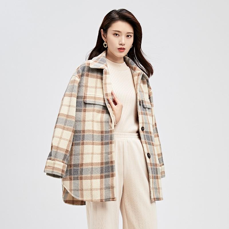 金苑女装呢子外套冬装2019新款毛呢大衣女格子复古宽松上衣E951152