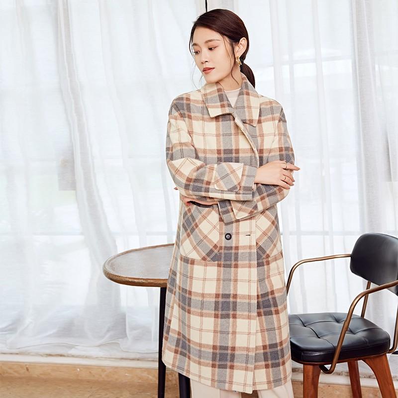 金苑冬装2019新款女装格子大衣韩版宽松中长款格子呢大衣E951164