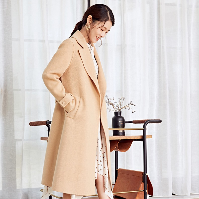 金苑冬装羊毛大衣2019新款女装中长款外套韩版简约毛呢外套E9511813