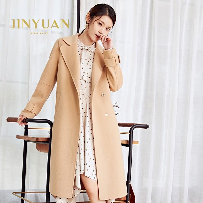 金苑冬装羊毛大衣2019新款女装中长款外套韩版简约毛呢外套E9511811