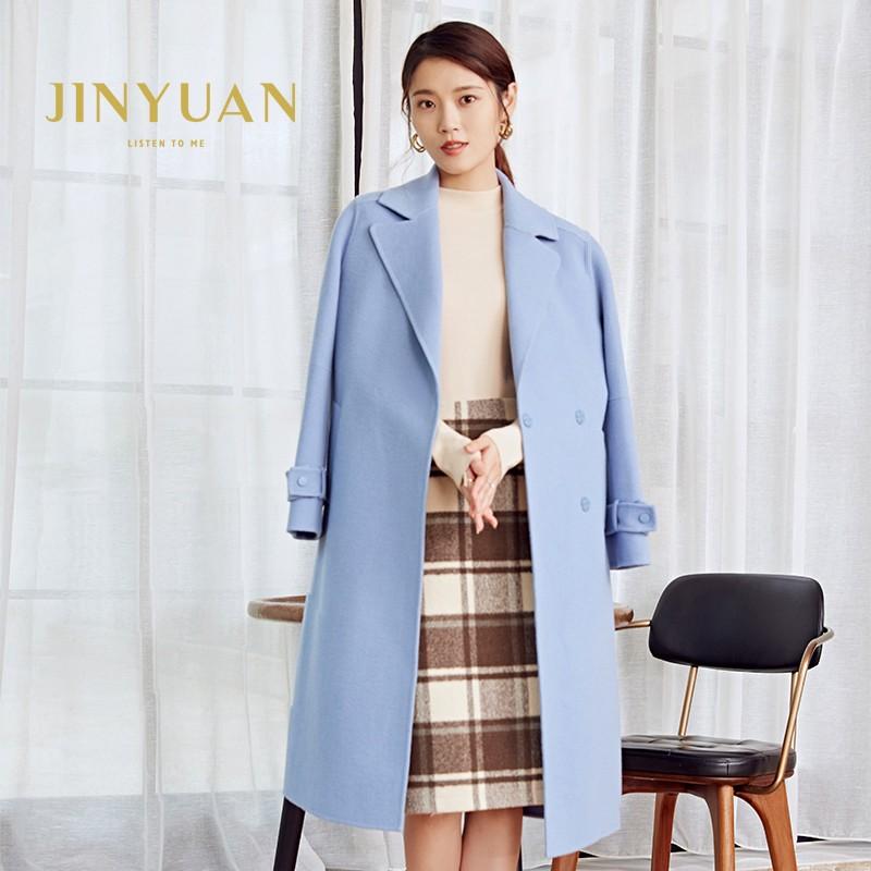 金苑冬装羊毛大衣2019新款女装中长款外套韩版简约毛呢外套E951181