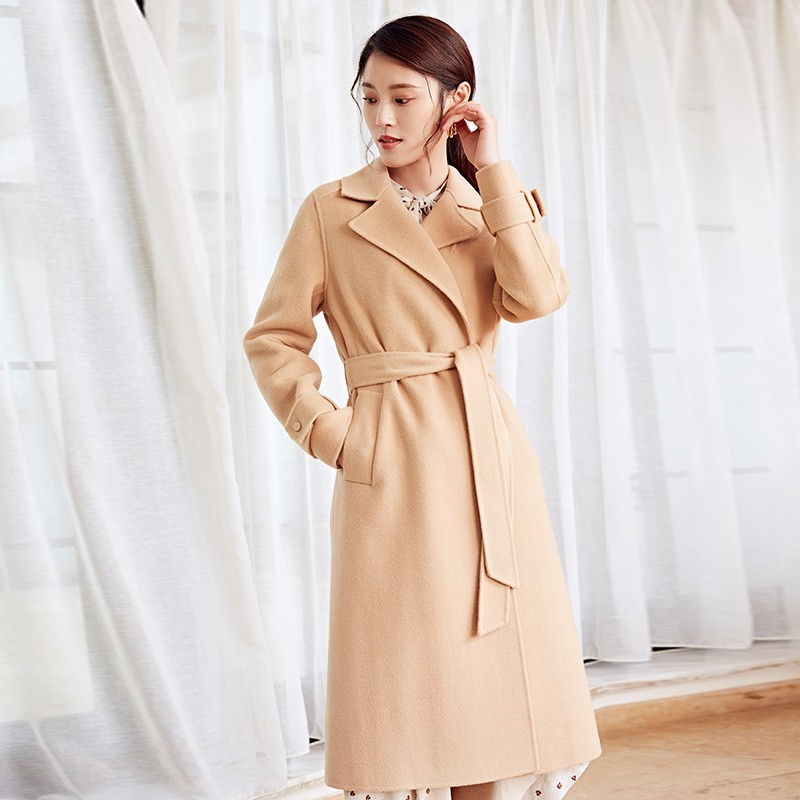 金苑冬装羊毛大衣2019新款女装中长款外套韩版简约毛呢外套E9511815