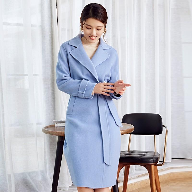 金苑冬装羊毛大衣2019新款女装中长款外套韩版简约毛呢外套E951185