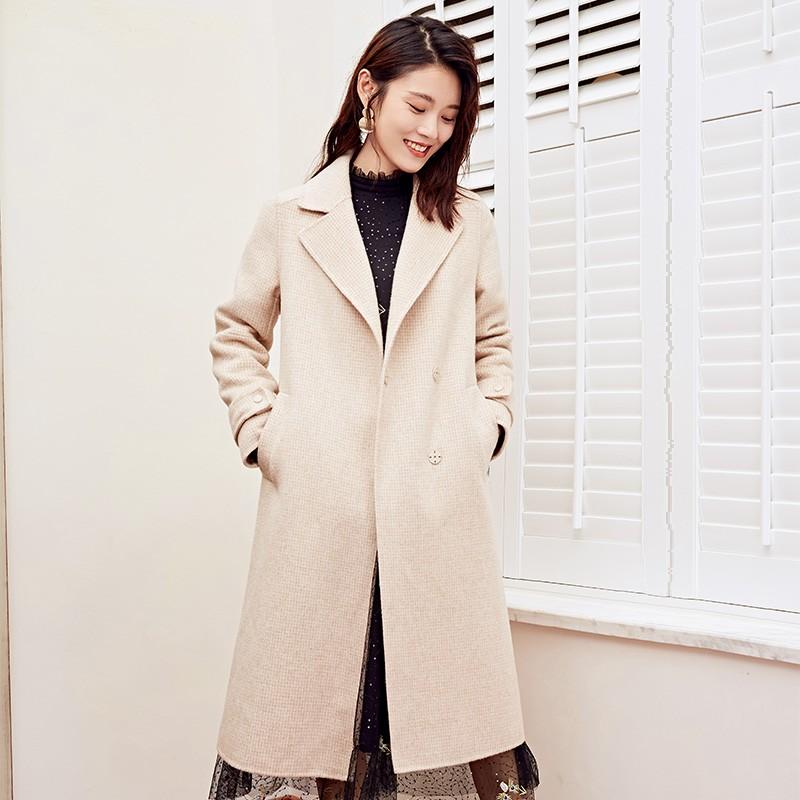 金苑冬装羊毛大衣2019新款女装中长款外套韩版简约毛呢外套E951189
