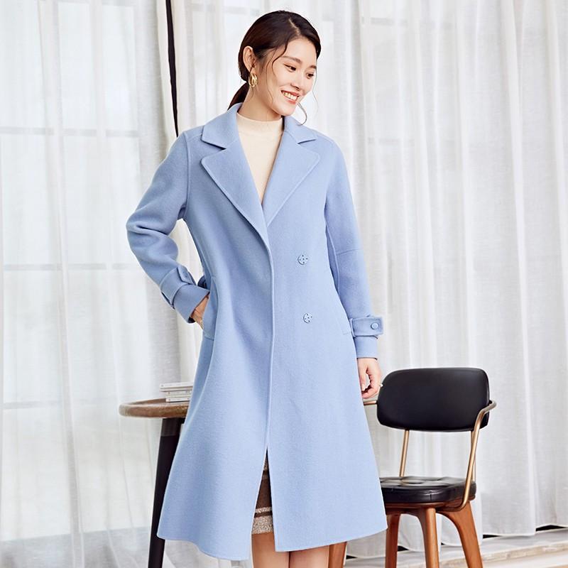 金苑冬装羊毛大衣2019新款女装中长款外套韩版简约毛呢外套E951182