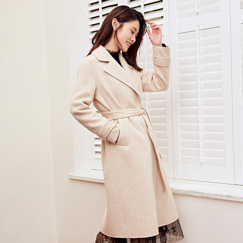 金苑冬装羊毛大衣2019新款女装中长款外套韩版简约毛呢外套E951188