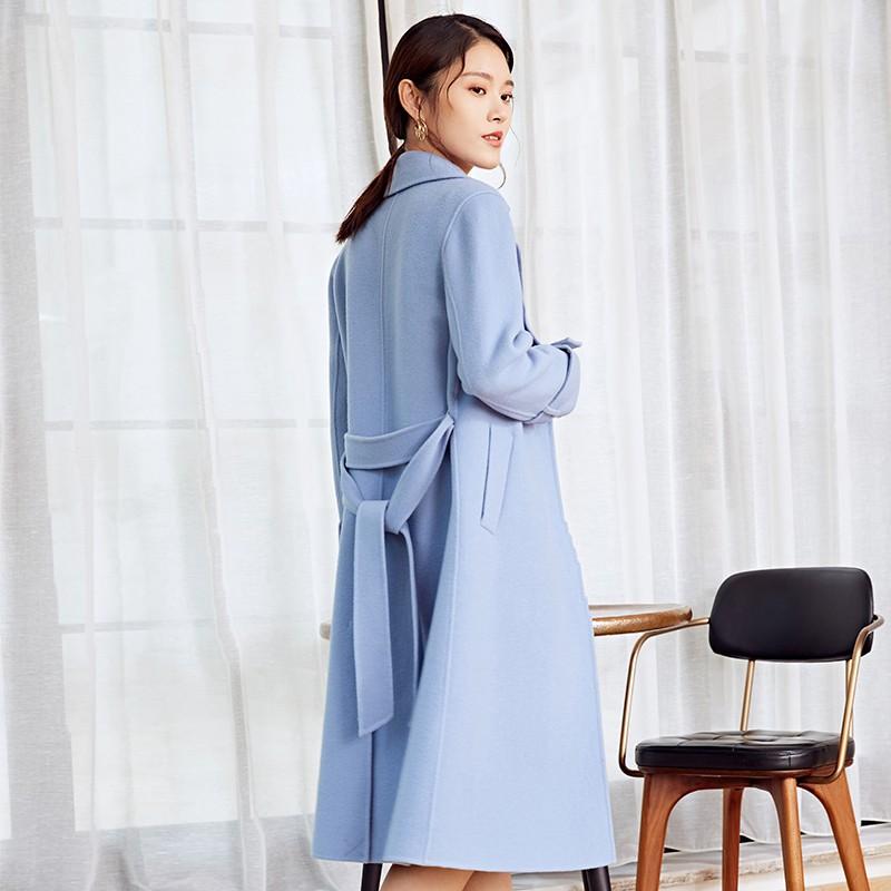 金苑冬装羊毛大衣2019新款女装中长款外套韩版简约毛呢外套E951183