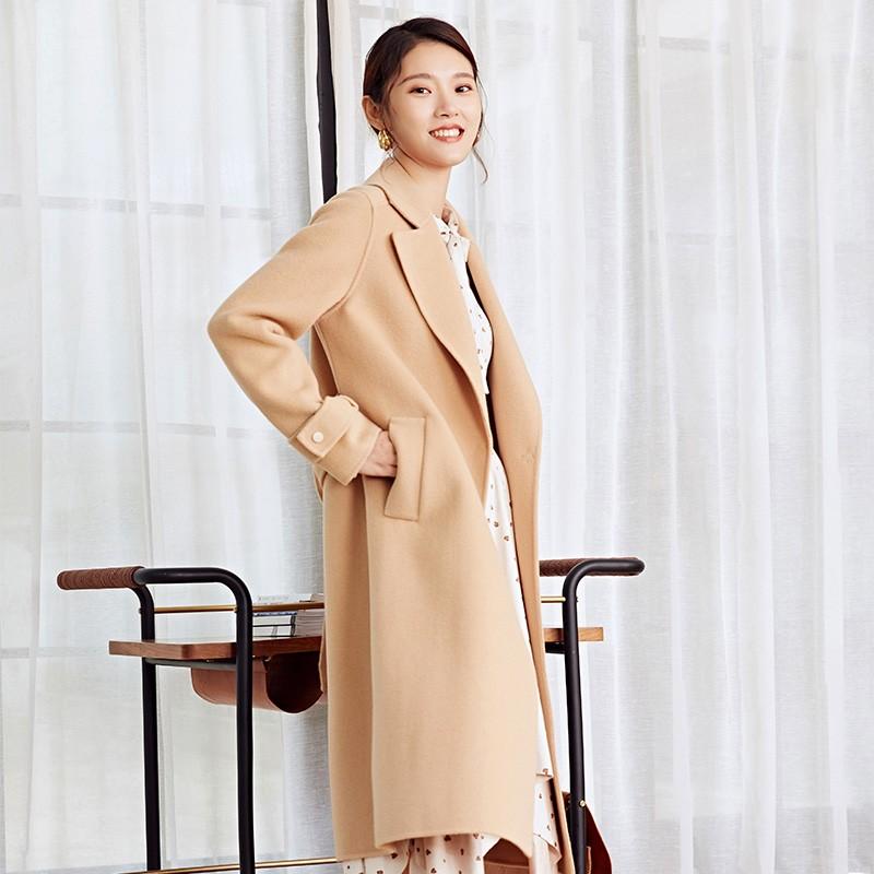 金苑冬装羊毛大衣2019新款女装中长款外套韩版简约毛呢外套E9511812