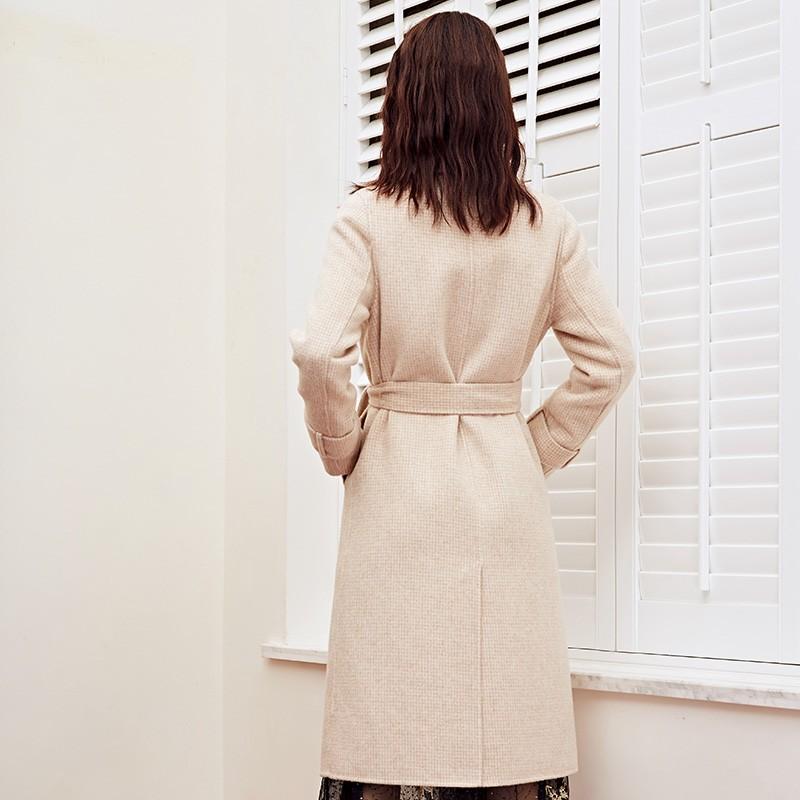 金苑冬装羊毛大衣2019新款女装中长款外套韩版简约毛呢外套E951187
