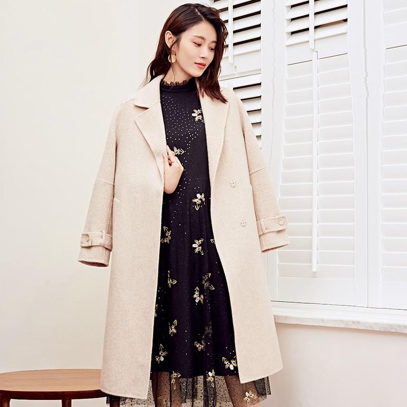 金苑冬装羊毛大衣2019新款女装中长款外套韩版简约毛呢外套E9511810