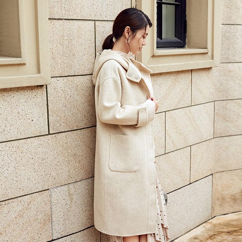 金苑冬装2019新款女装连帽大衣韩版简约减龄通勤羊毛呢大衣E951224