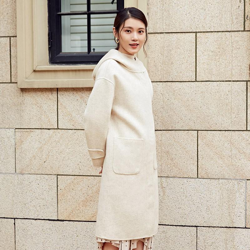金苑冬装2019新款女装连帽大衣韩版简约减龄通勤羊毛呢大衣E951225