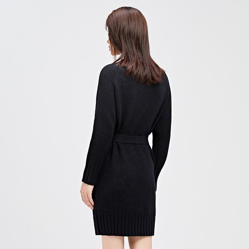 金苑连衣裙女2019冬装新款针织裙优雅职业复古女毛线连衣裙G9510210