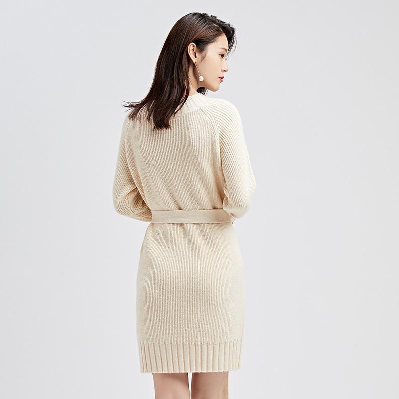 金苑连衣裙女2019冬装新款针织裙优雅职业复古女毛线连衣裙G951024