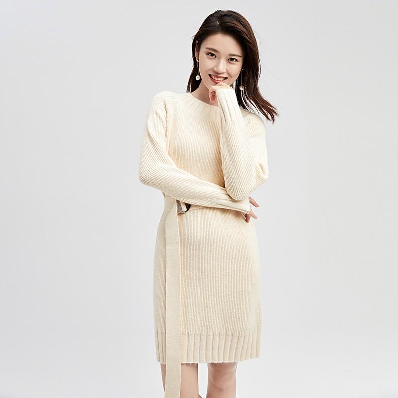 金苑连衣裙女2019冬装新款针织裙优雅职业复古女毛线连衣裙G951022