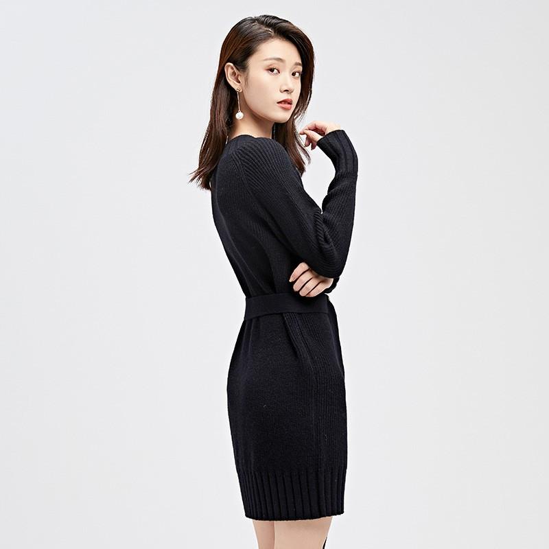 金苑连衣裙女2019冬装新款针织裙优雅职业复古女毛线连衣裙G951029