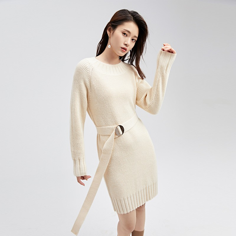 金苑连衣裙女2019冬装新款针织裙优雅职业复古女毛线连衣裙G951023