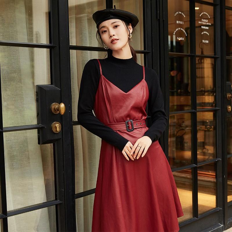 金苑女装2019冬装新品职业复古裙韩版优雅皮裙气质连衣裙G951035