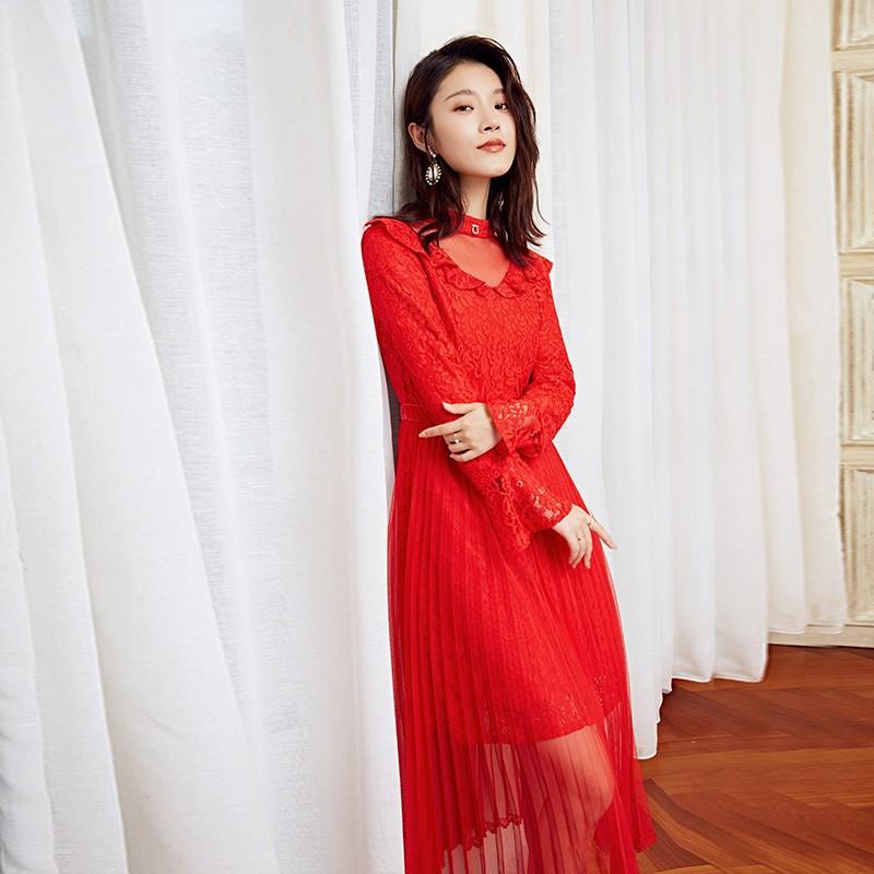 金苑优雅连衣裙女2019新款冬季蕾丝雪纺长裙新娘订婚红色裙G951103