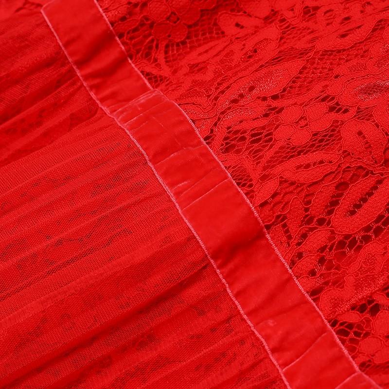 金苑优雅连衣裙女2019新款冬季蕾丝雪纺长裙新娘订婚红色裙G951106