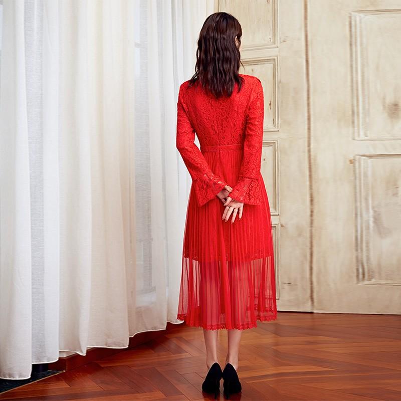 金苑优雅连衣裙女2019新款冬季蕾丝雪纺长裙新娘订婚红色裙G951102