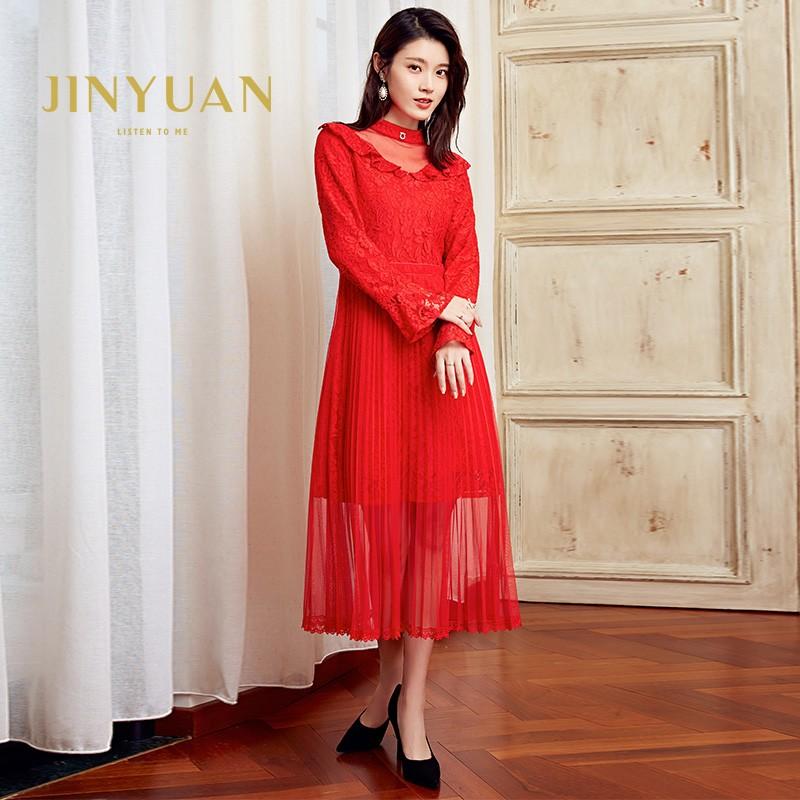 金苑优雅连衣裙女2019新款冬季蕾丝雪纺长裙新娘订婚红色裙G951101