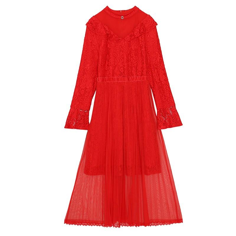 金苑优雅连衣裙女2019新款冬季蕾丝雪纺长裙新娘订婚红色裙G951105
