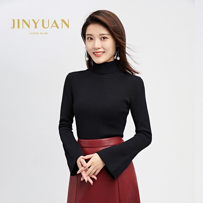 金苑毛针织衫女士2019冬季新款修身韩版高领长袖套头打底衫H951081