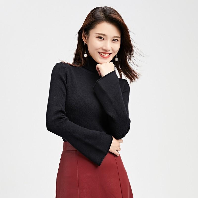 金苑毛针织衫女士2019冬季新款修身韩版高领长袖套头打底衫H951085