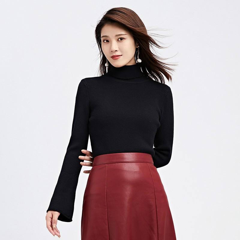 金苑毛针织衫女士2019冬季新款修身韩版高领长袖套头打底衫H951082