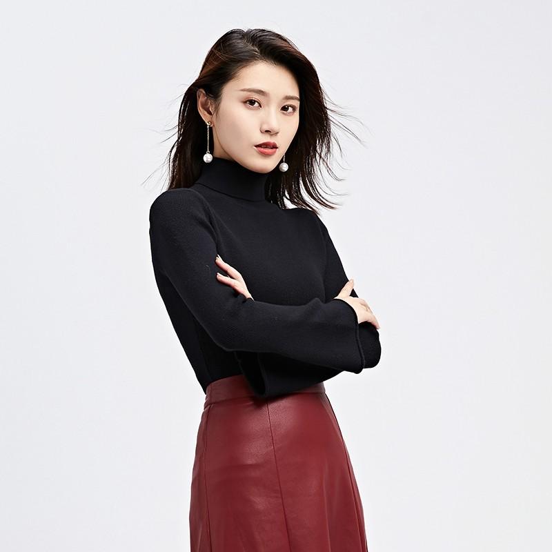 金苑毛针织衫女士2019冬季新款修身韩版高领长袖套头打底衫H951083